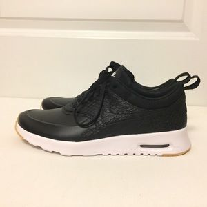 Nike Air Max Thea Black Leather Python Emboss Sz 7